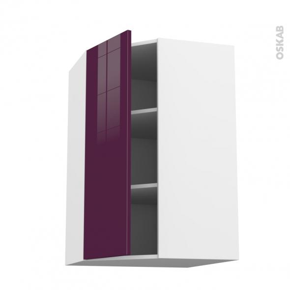 Meuble de cuisine - Angle haut - KERIA Aubergine - 1 porte N°23 L40 cm - L65 x H92 x P37 cm