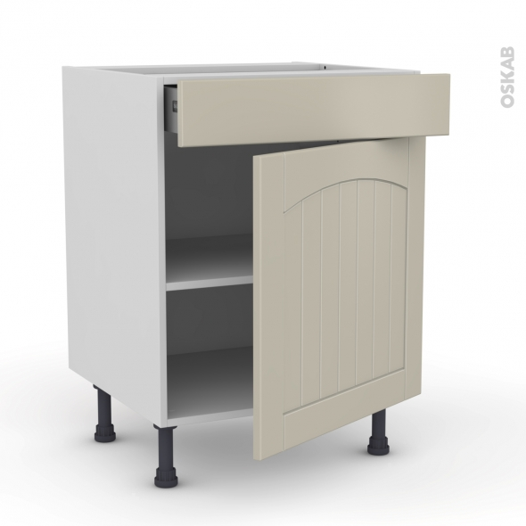 SILEN Argile - Meuble bas cuisine  - 1 porte 1 tiroir - L60xH70xP58 - droite