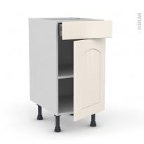 SILEN Ivoire - Meuble bas cuisine  - 1 porte 1 tiroir - L40xH70xP58 - droite