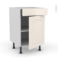 SILEN Ivoire - Meuble bas cuisine  - 1 porte 1 tiroir - L50xH70xP58 - droite