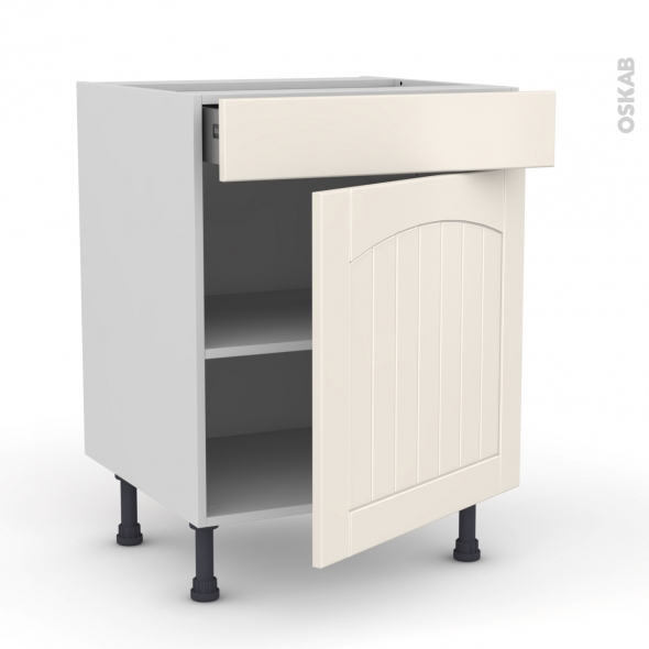 SILEN Ivoire - Meuble bas cuisine  - 1 porte 1 tiroir - L60xH70xP58 - droite