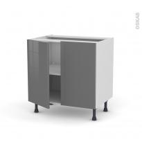 Meuble de cuisine - Sous évier - STECIA Gris - 2 portes - L80 x H70 x P58 cm