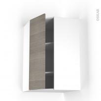 Meuble de cuisine - Angle haut - STILO Noyer Naturel - 1 porte N°23 L40 cm - L65 x H92 x P37 cm