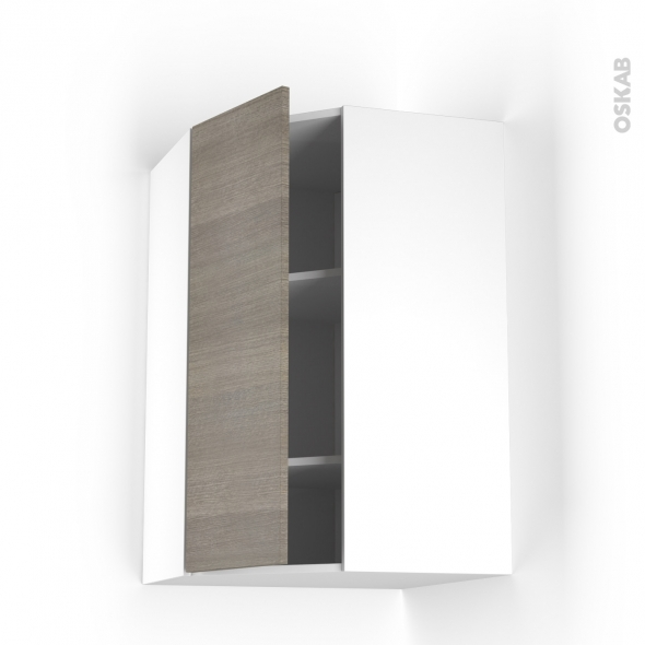 STILO Noyer Naturel - Meuble angle haut  - 1 porte N°23 L40 - L65xH92xP37