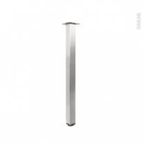 Pied plan de travail - Carré réglable - Finition inox brossé - H84 cm 6x6 cm - SOKLEO
