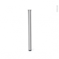 Pied plan de travail - Rond réglable - Finition inox brossé - H82 Ø6 cm - SOKLEO