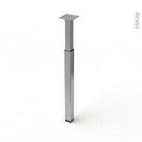Pied en acier carré - CHIC - réglable de H70 à 110cm - Acier brossé - SOKLEO