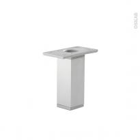 SOKLEO - Lot de 2 pieds carrés - Finition aluminium - H130mm Ø35mm