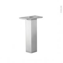 Lot de 2 pieds - Carrés réglables - Pour meuble de cuisine - Finition aluminium - L3,5 x l3,5 H25 cm - SOKLEO