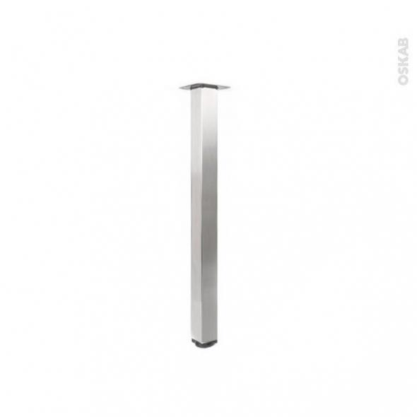 Pied de table - Carré réglable - Finition inox brossé - H70 cm 6x6 cm - SOKLEO