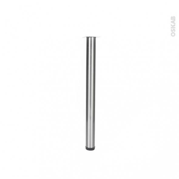 Pied de table - Rond réglable - Finition inox brossé - H70 Ø6 cm - SOKLEO