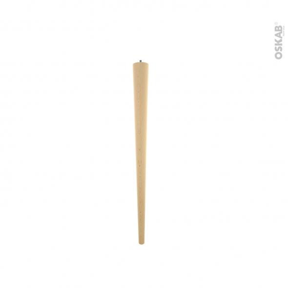 Pied fuseau en bois - SCANDI - H73cm - Hêtre brut - HAKEO