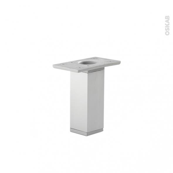 Lot de 2 pieds - Carrés réglables - Pour meuble de cuisine - Finition aluminium - L3,5 x l3,5 H13 cm- SOKLEO