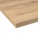 Plan de travail salle de bains N°214 - Décor Chêne blond - Stratifié - Chant coordonné - L204 x l62 x E3.8 cm - PLANEKO