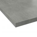 Plan de travail salle de bains N°504 - Décor Fakto béton - Stratifié - Chant coordonné - L205 x l62 x E3,8 cm - PLANEKO