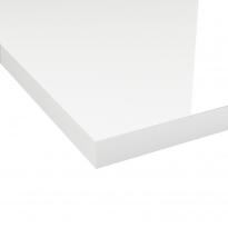 Plan de travail salle de bains N°108 - Décor Blanc brillant - Stratifié - Chant coordonné - L204 x l62 x E3,8 cm - PLANEKO