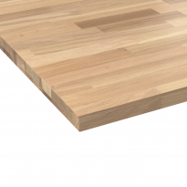 Plan de travail salle de bain N°605 - Chêne Lamelle - Bois massif - L200 x l65 x E2.6 cm - PLANEKO