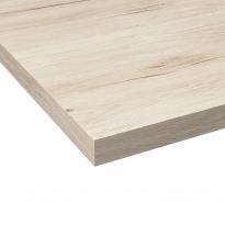 Plan de travail salle de bains N°213 - Décor Chêne clair Ikoro - Stratifié - Chant coordonné - L204 x l62 x E3.8 cm - PLANEKO