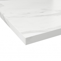 Plan de travail salle de bains N°308 - Décor Marbre blanc - Stratifié - Chant coordonné - L204 x l62 x E3.8 cm - PLANEKO