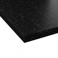 Plan de travail salle de bains N°309 - Décor Noir galaxie - Stratifié - Chant coordonné - L204 x l62 x E3.8 cm - PLANEKO