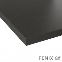 Plan de travail salle de bains N°118 - Décor Noir Métal FENIX NTM ® - Stratifié - Chant  coordonné - L204 x l62 x E3.8 cm - PLANEKO
