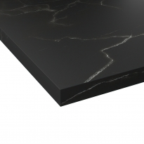 Plan de travail salle de bains N°311 - Décor Marbre noir - Stratifié - Chant coordonné - L300 x l62 x E3,8 cm - PLANEKO