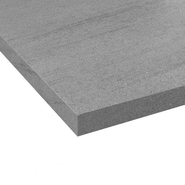 Plan de travail salle de bains N°305 - Décor Basalt gris - Stratifié - Chant coordonné - L300 x l62 x E3,8 cm - PLANEKO