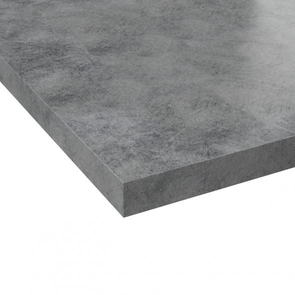 Plan de travail salle de bains N°502 - Décor Beton Gris clair - Stratifié - Chant coordonné - L205 x l62 x E3,8 cm - PLANEKO