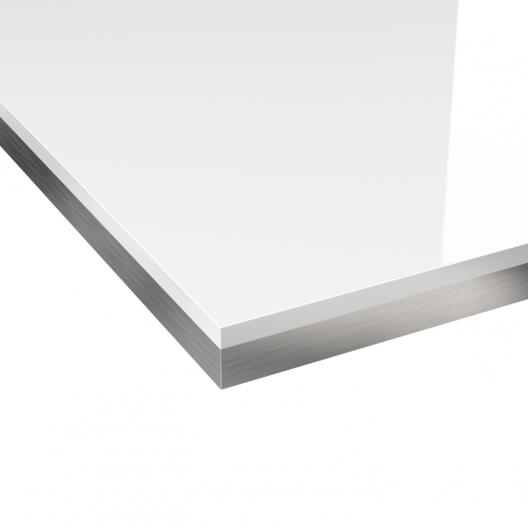 PLANEKO - Plan de travail salle de bains N°105 - Décor Blanc brillant - Chant Bicolore -  L300xl62xE3,8