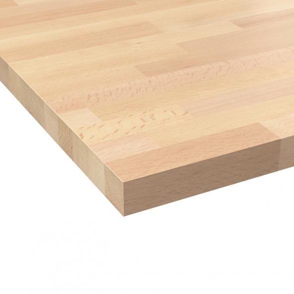 Plan de travail cuisine N°602 - Hêtre lamelle - Bois massif - L300 x l65 x E3,8 cm - PLANEKO