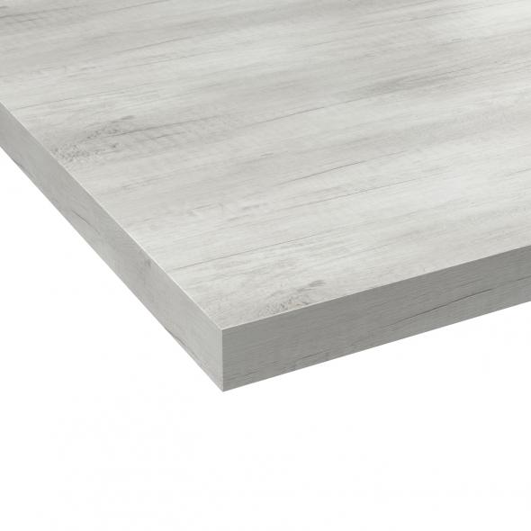 Plan de travail salle de bains N°212 - Décor Chêne blanchi - Stratifié - Chant coordonné - L205 x l62 x E3,8 cm - PLANEKO