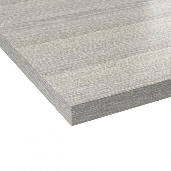 PLANEKO - Plan de travail salle de bains N°206 - Décor Chêne grisé - Chant Chêne grisé - L205xl62xE3,8