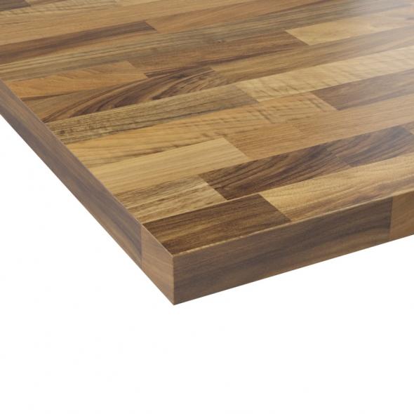 Plan de travail cuisine N°202 - Décor Chêne lamelle - Stratifié - Chant coordonné - L205 x l62 x E3,8 cm - PLANEKO