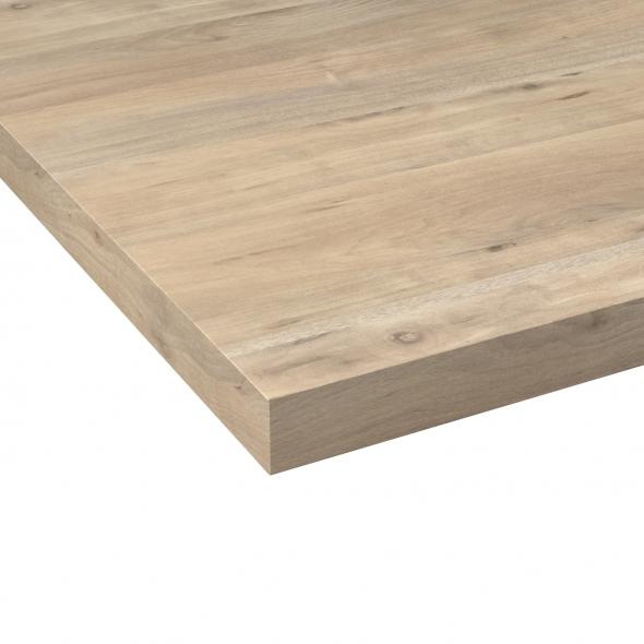 Plan de travail salle de bains N°215 - Décor Chêne nordique - Stratifié - Chant coordonné - L204 x l62 x E3.8 cm - PLANEKO