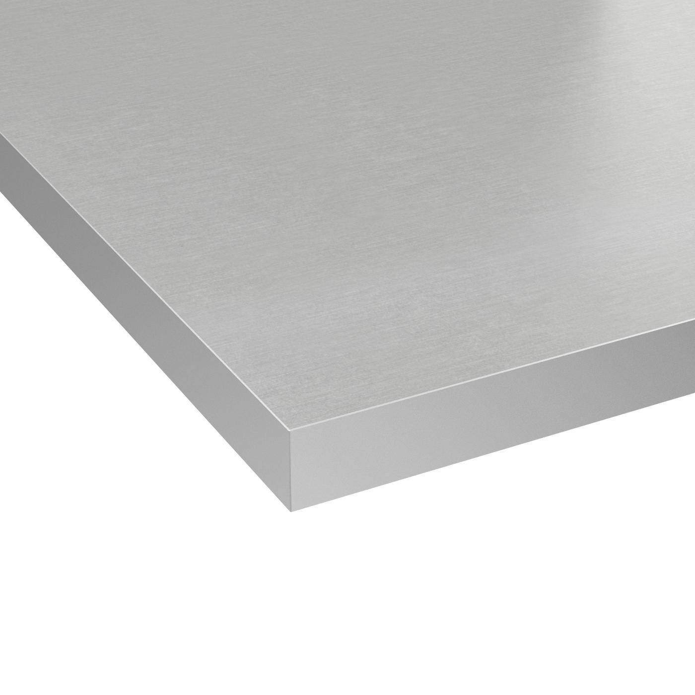 Plan De Travail Laminé plan de travail cuisine n°403 décor gris alu stratifié, chant coordonné,  l204 x l62 x e3.8 cm, planeko