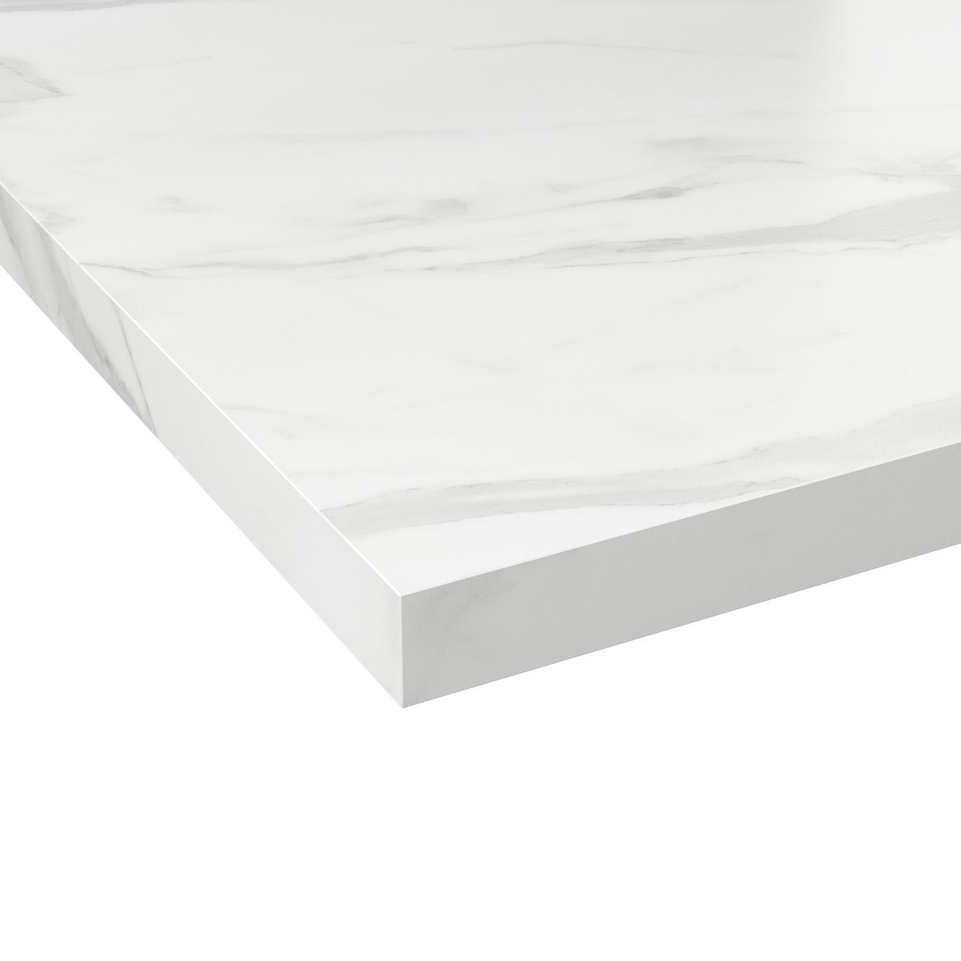 Deport Plan De Travail plan de travail cuisine n°308 décor marbre blanc stratifié, chant  coordonné, l204 x l62 x e3.8 cm, planeko