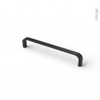 Poignée de meuble de salle de bains N°69 Noir mat, 17 cm, Entraxe 160 mm, HAKEO