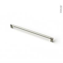 Poignée de meuble - de salle de bains N°77 - Inox brossé - 33,4 cm - Entraxe 320 mm - HAKEO