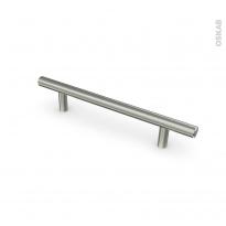 Poignée de meuble - de cuisine N°16 - Inox brossé - 19,2 cm - Entraxe 128 mm - SOKLEO