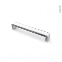 Poignée de meuble - de cuisine N°6 - Chromé insert blanc - 16,8 cm - Entraxe 160 mm - SOKLEO