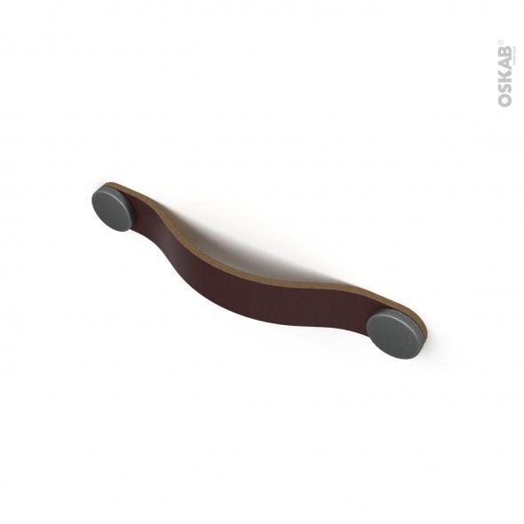 Poignée de meuble - de salle de bains N°83 - Cuir brun et étain - Entraxe 128 mm - HAKEO
