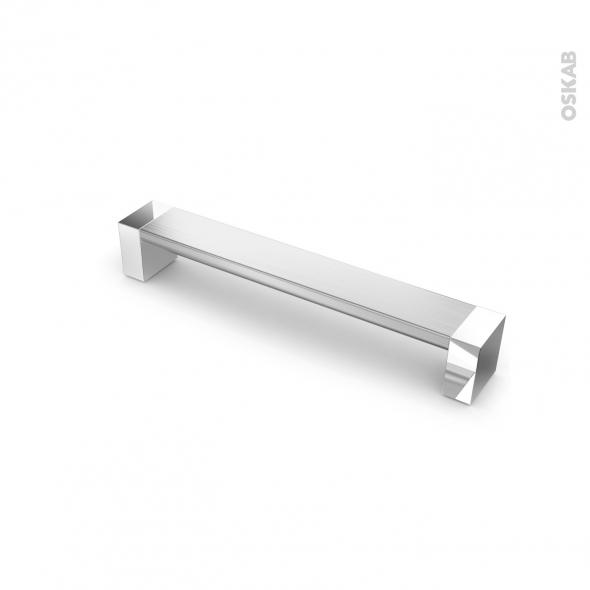Poignée de meuble - de cuisine N°10 - Alu mat avec embout chromé - 17,1 cm - Entraxe 160 mm - SOKLEO