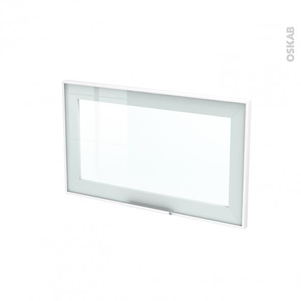 Façade blanche alu vitrée - Porte N°10 - Avec poignée - L60 x H35 cm - SOKLEO
