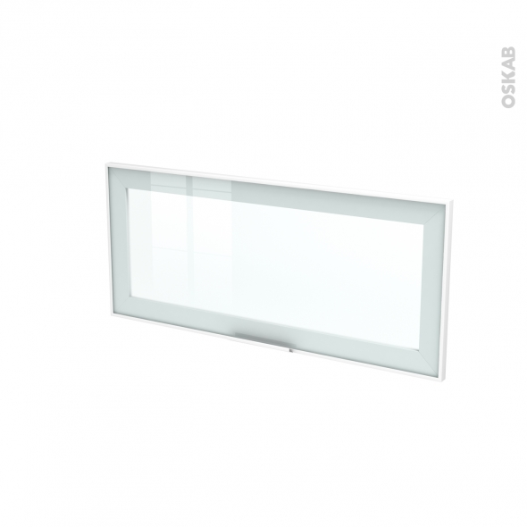 SOKLEO - Façade blanche alu vitrée avec poignée - Porte N°11 - L80xH35