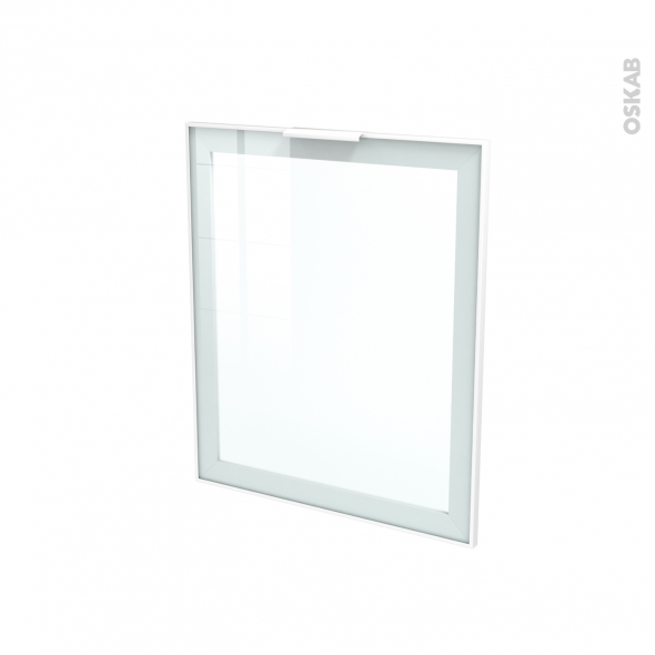 Façade blanche alu vitrée - Porte N°21 - Avec poignée - L60 x H70 cm - SOKLEO