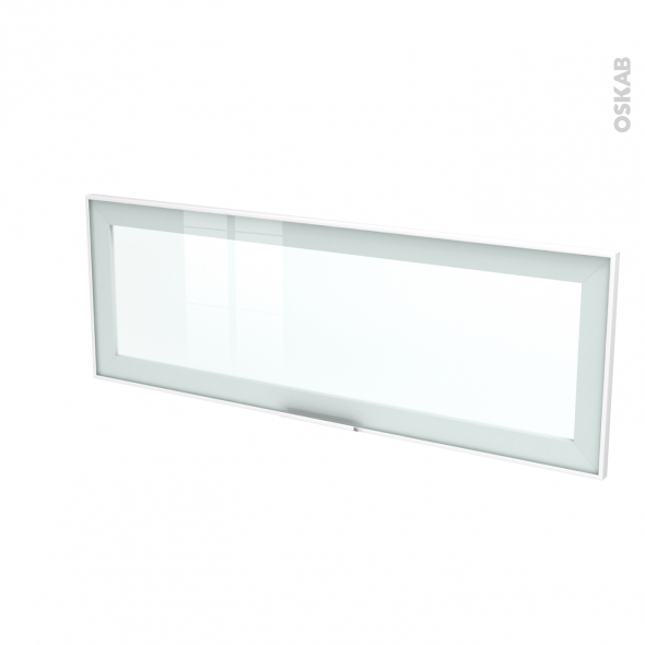Façade blanche alu vitrée - Porte N°12 - Avec poignée - L100 x H35 cm - SOKLEO