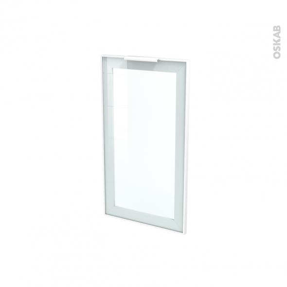 Façade blanche alu vitrée - Porte N°19 - Avec poignée - L40 x H70 cm - SOKLEO