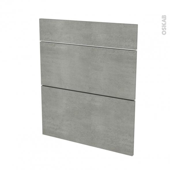 Façades de cuisine - 3 tiroirs N°58 - FAKTO Béton - L60 x H70 cm