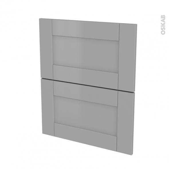 Façades de cuisine - 2 tiroirs N°57 - FILIPEN Gris - L60 x H70 cm