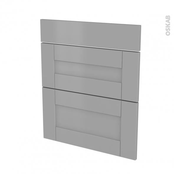Façades de cuisine - 3 tiroirs N°58 - FILIPEN Gris - L60 x H70 cm